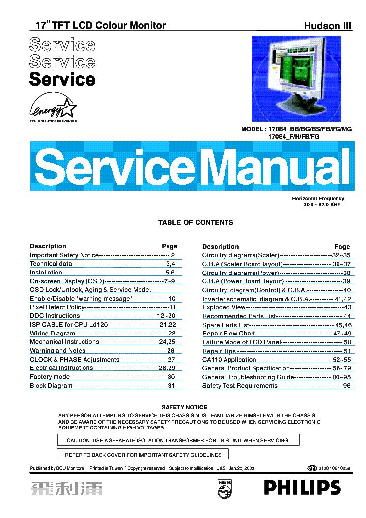 Philips 170b4 Manual