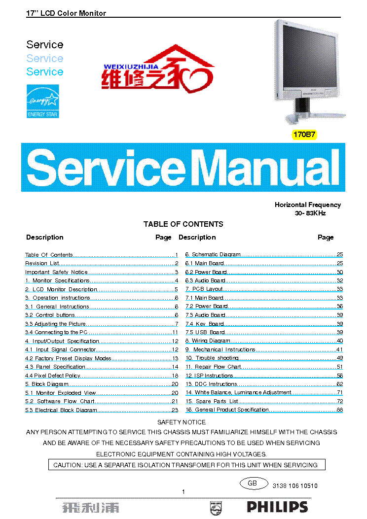 PHILIPS 170B7 service manual