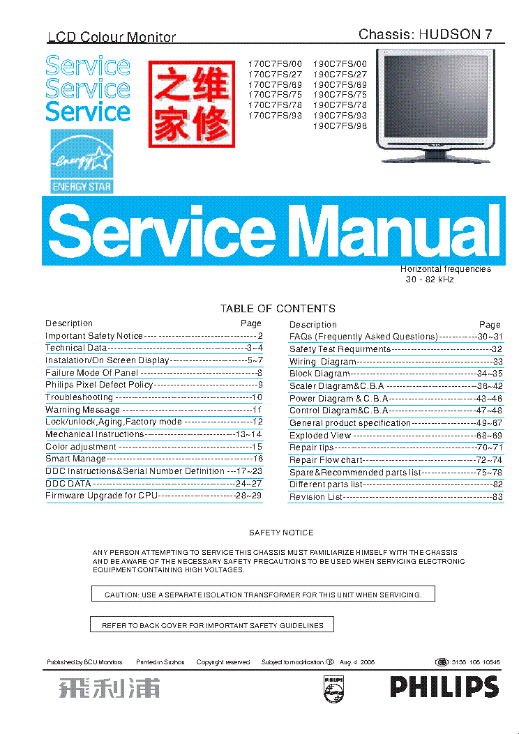 PHILIPS 170C7FS 190C7FS