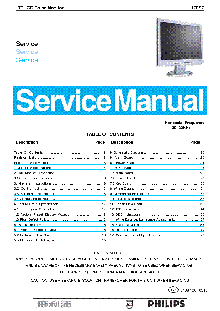 PHILIPS 170S7 service manual
