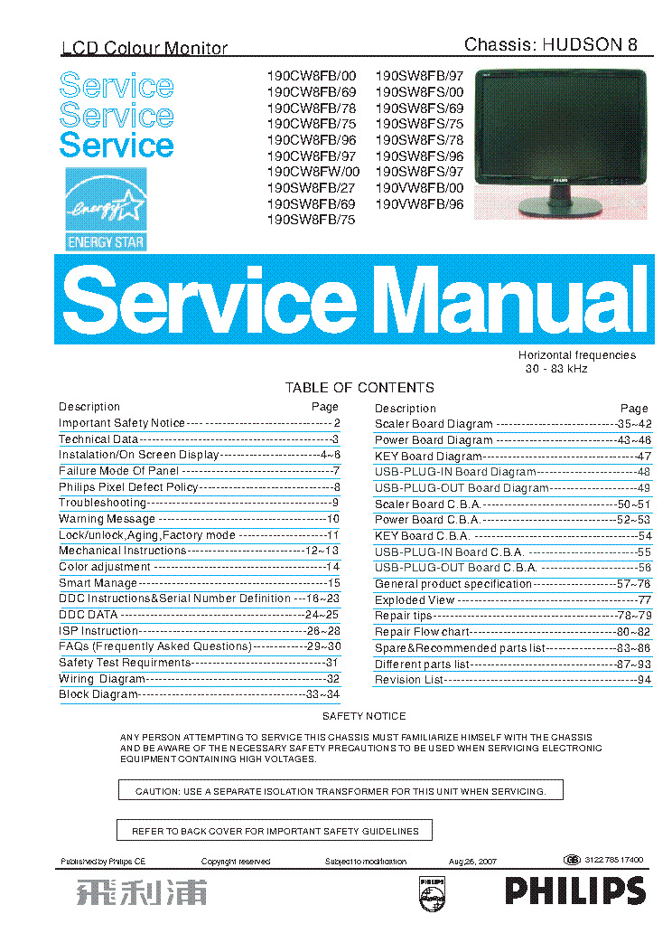 Philips 190c S V W8fb Xx Hudson 8 Lcd Monitor Service Manual Service Manual Download  Schematics