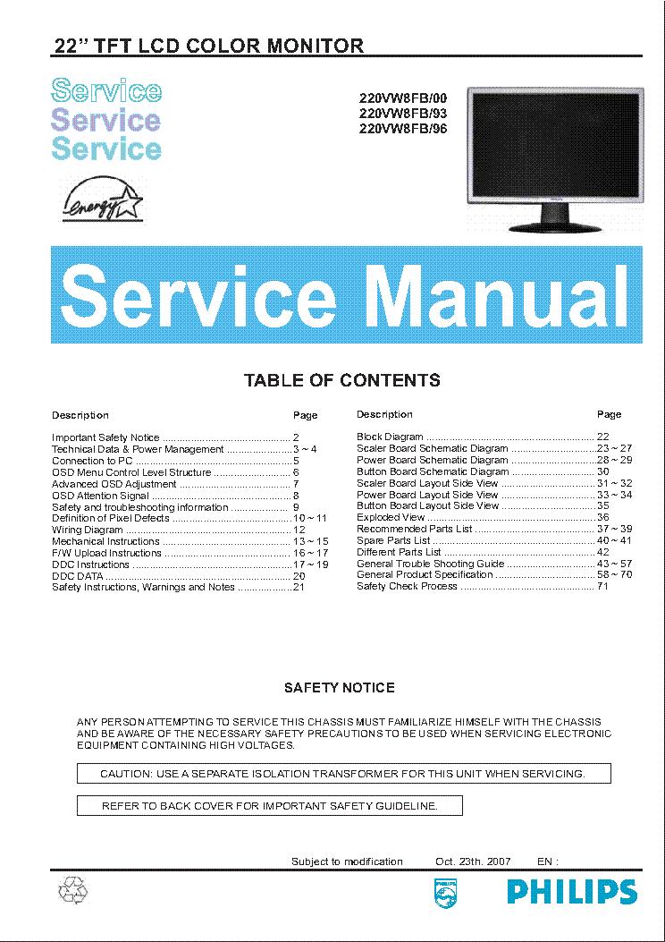 PHILIPS 220VW8FB SM service
