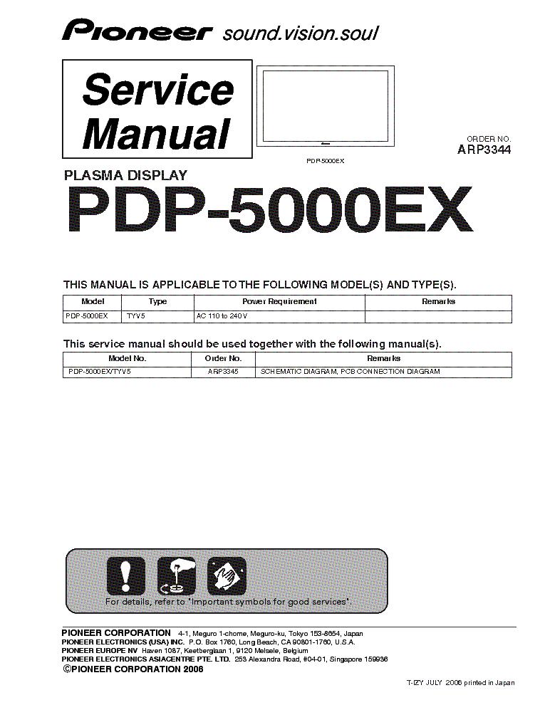 PIONEER PDP-5000EX Service Manual download, schematics, eeprom ...