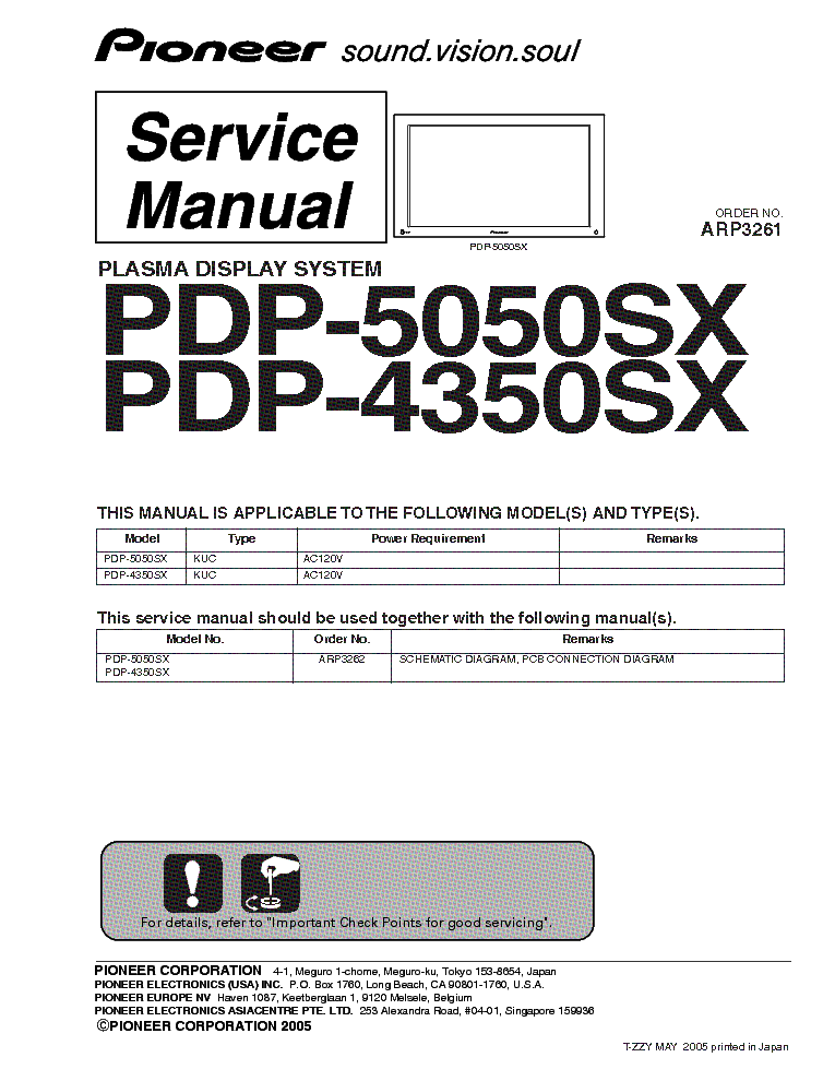 pioneer krp 500p plasma display service manual
