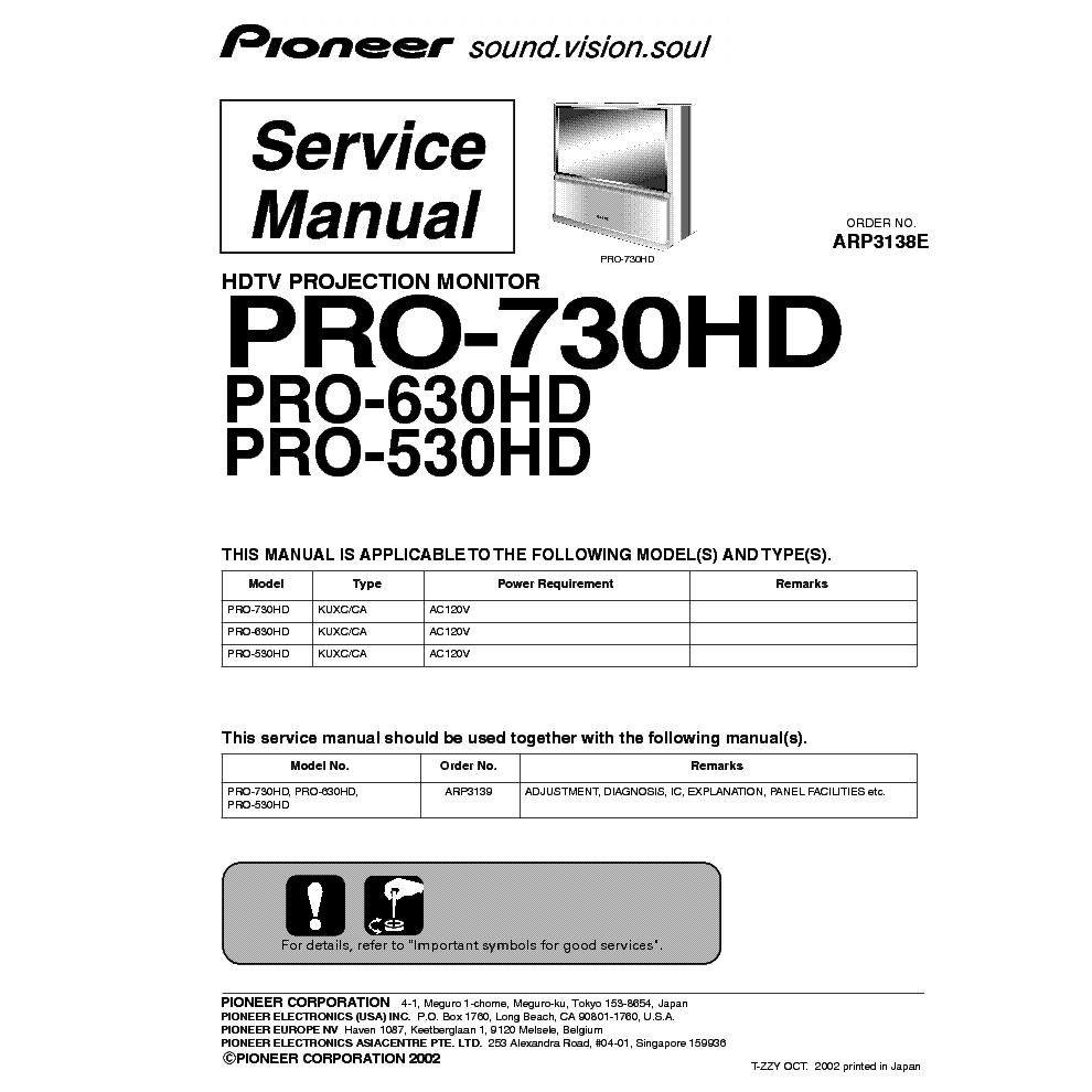 pioneer pro 530hd 630hd 730hd service manual download schematics rh elektrotanya com Pioneer Speakers Pioneer HDTV CRT