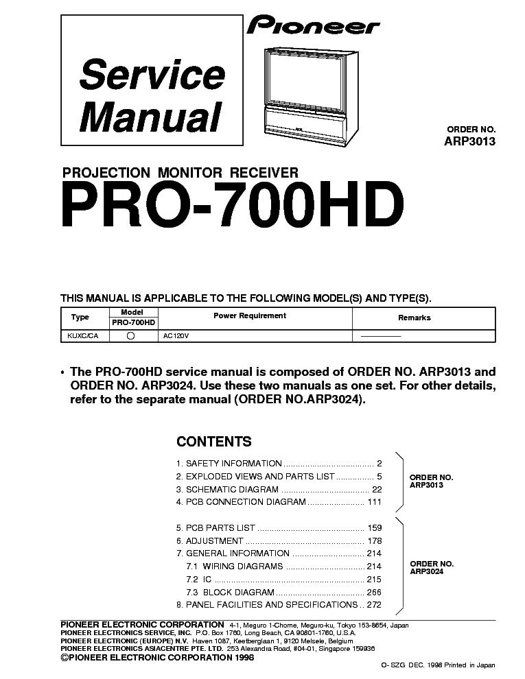 pioneer pro 700hd arp3013 service manual download schematics rh elektrotanya com Sharp Electronics Manuals Pioneer Electronics Wiring Diagram
