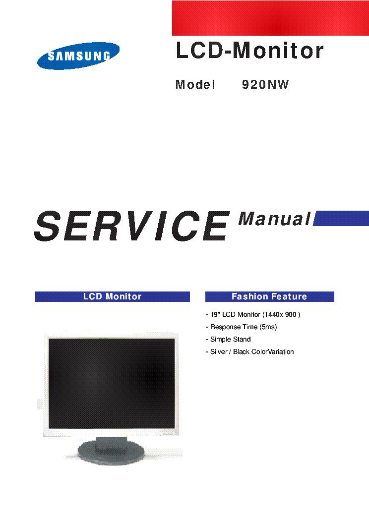 samsung 920nw lcd monitor service manual service manual download rh elektrotanya com Samsung TV Repair Samsung Car
