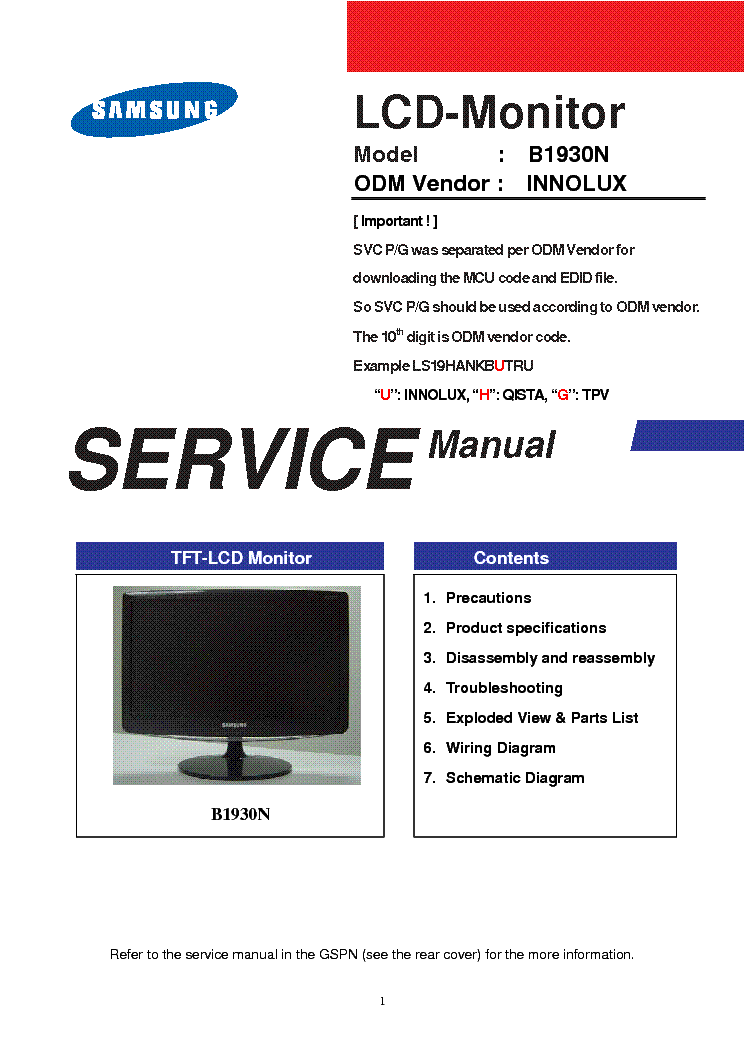 Samsung B1930n Monitor Service Manual Download  Schematics  Eeprom  Repair Info For Electronics