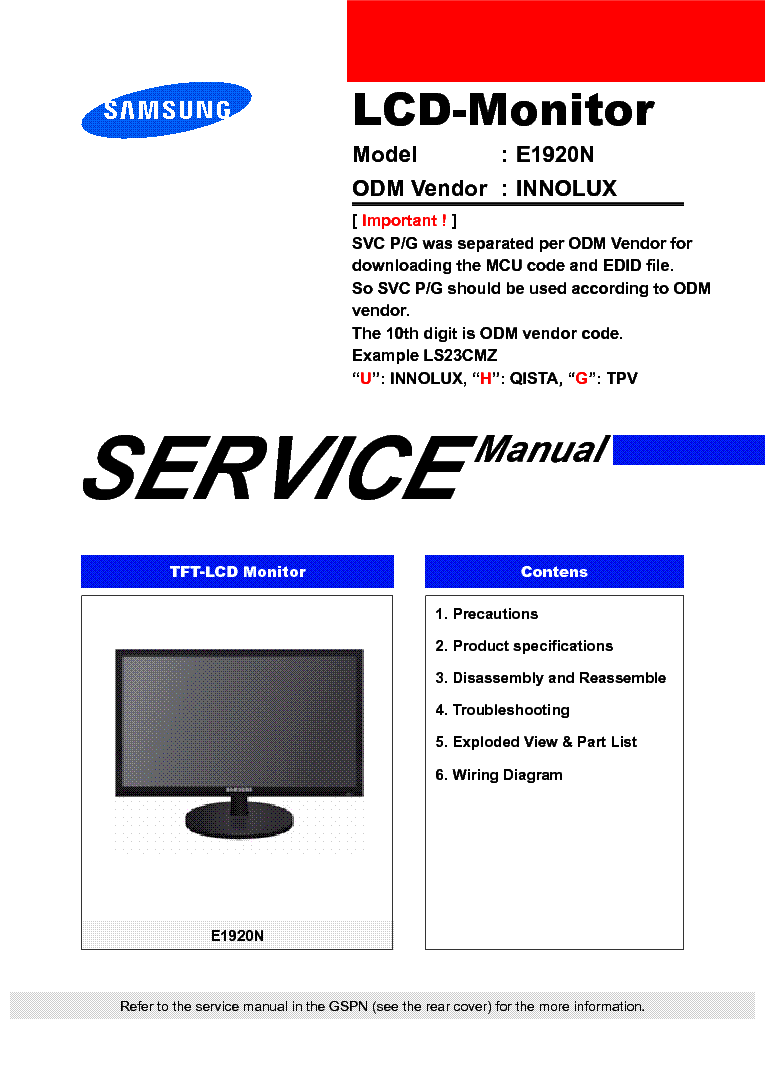 SAMSUNG LS19CLYSBUEN E1920N LCD MONITOR service manual (1st page)