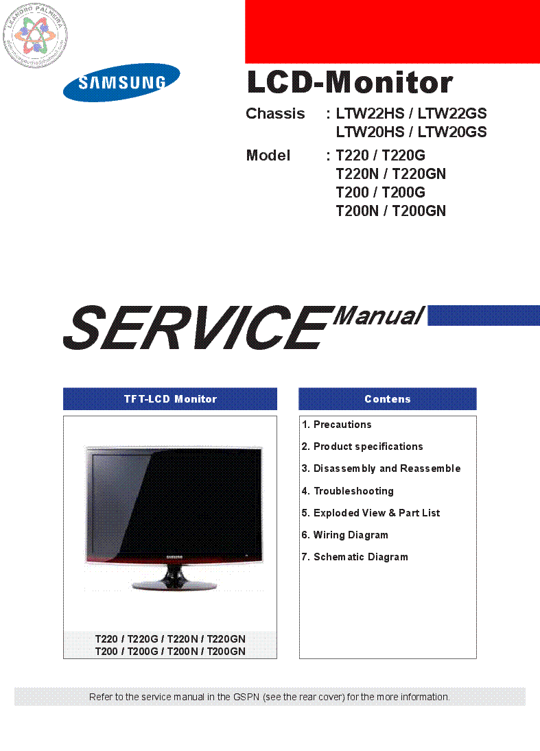 Samsung T220 T200 Lcd Monitor Service Manual Download Aqua Mail Free Hs Wiring Diagram Verified Book Library Summary File 5481mb Full