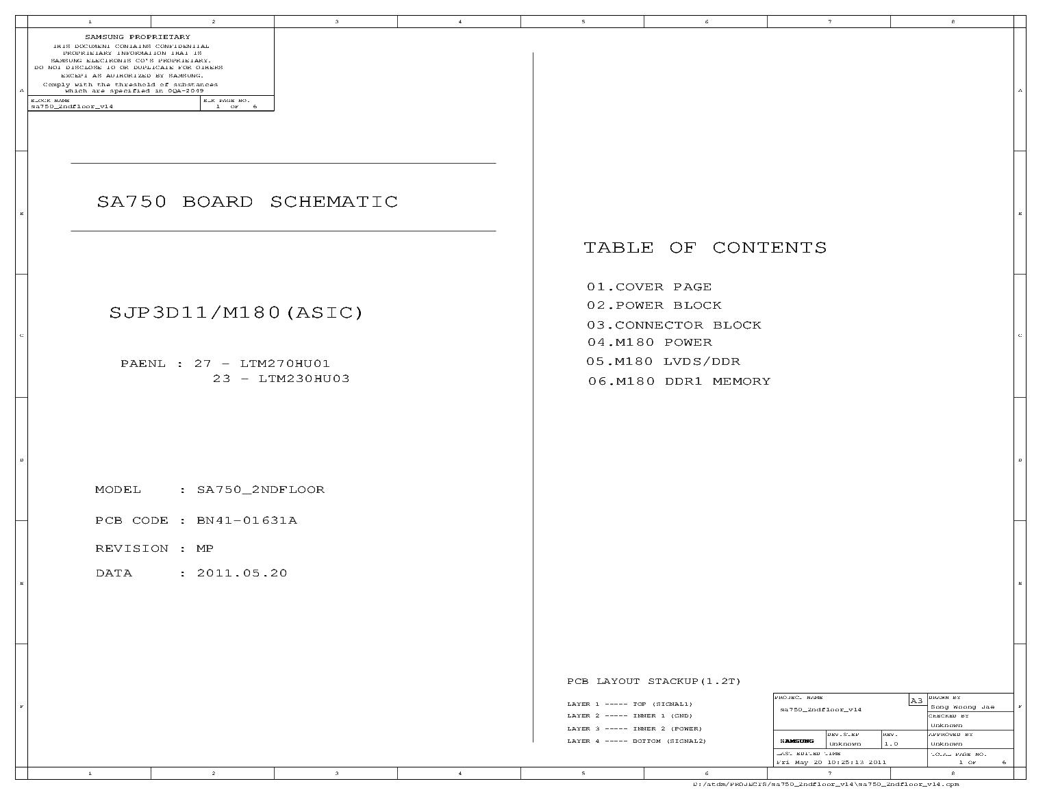 SAMSUNG SA-750 V14 service manual (1st page)