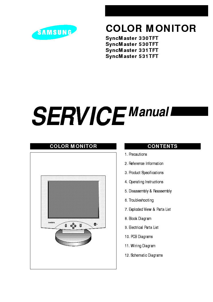 samsung syncmaster 330 331 530 531tft service manual download  schematics  eeprom  repair info