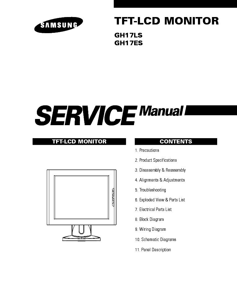 samsung tft monitor gh17ls service manual download  schematics  eeprom  repair info for