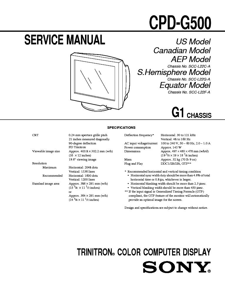 Сервис-мануал для Other SONY CPD-G500.