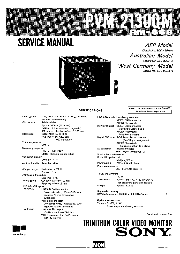 Sony Crt tv service manual Pdf Flatron