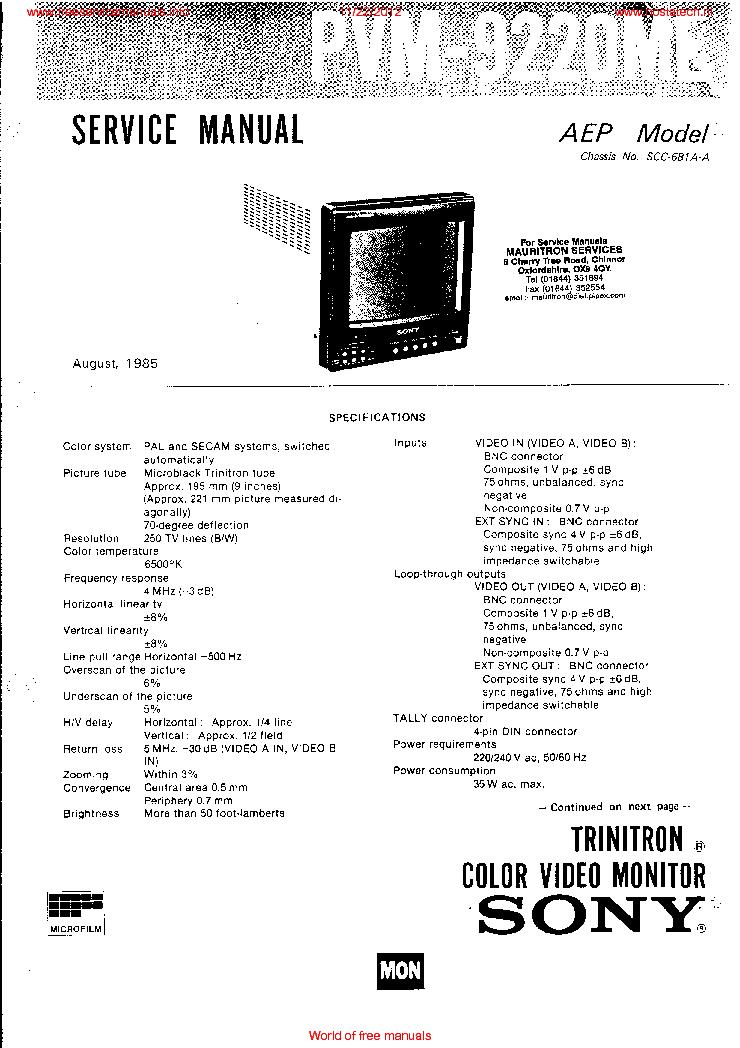 Sony Pvm 9220me Service Manual Schematics Eeprom