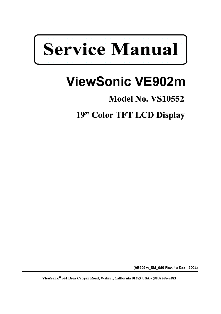 VIEWSONIC VE902M-VS10552-