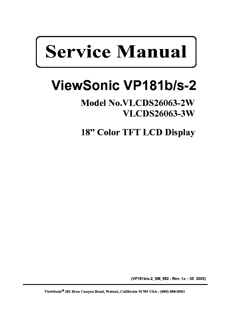 VIEWSONIC VP181B S-2 SM 1A service manual (1st page)