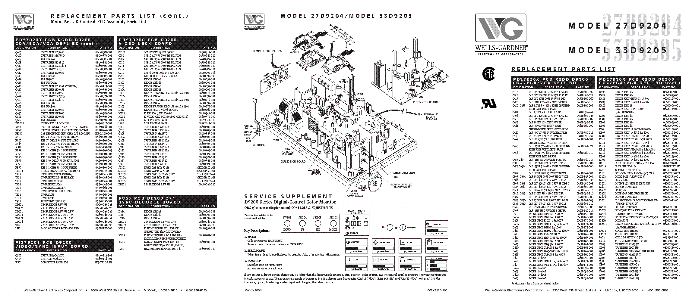 Wells Gardner D9200 27 Digital Monitor Sch Service Manual Download  Schematics  Eeprom  Repair