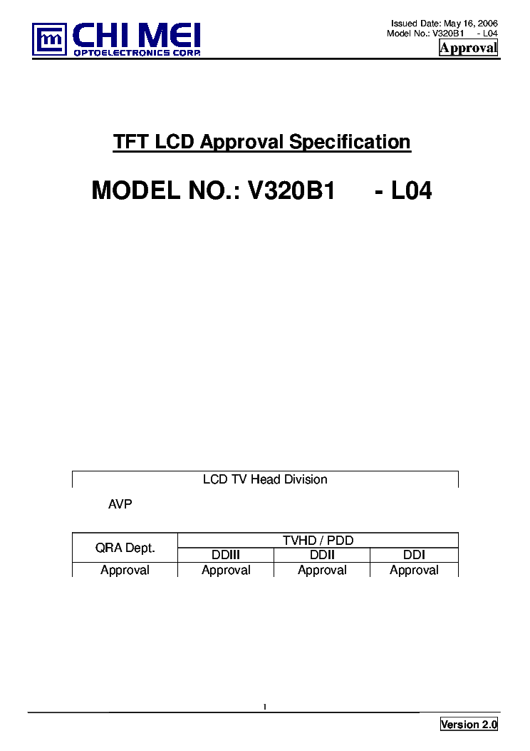chimei v320b1-l04 ver2.0 approval spec service manual free, Wiring schematic