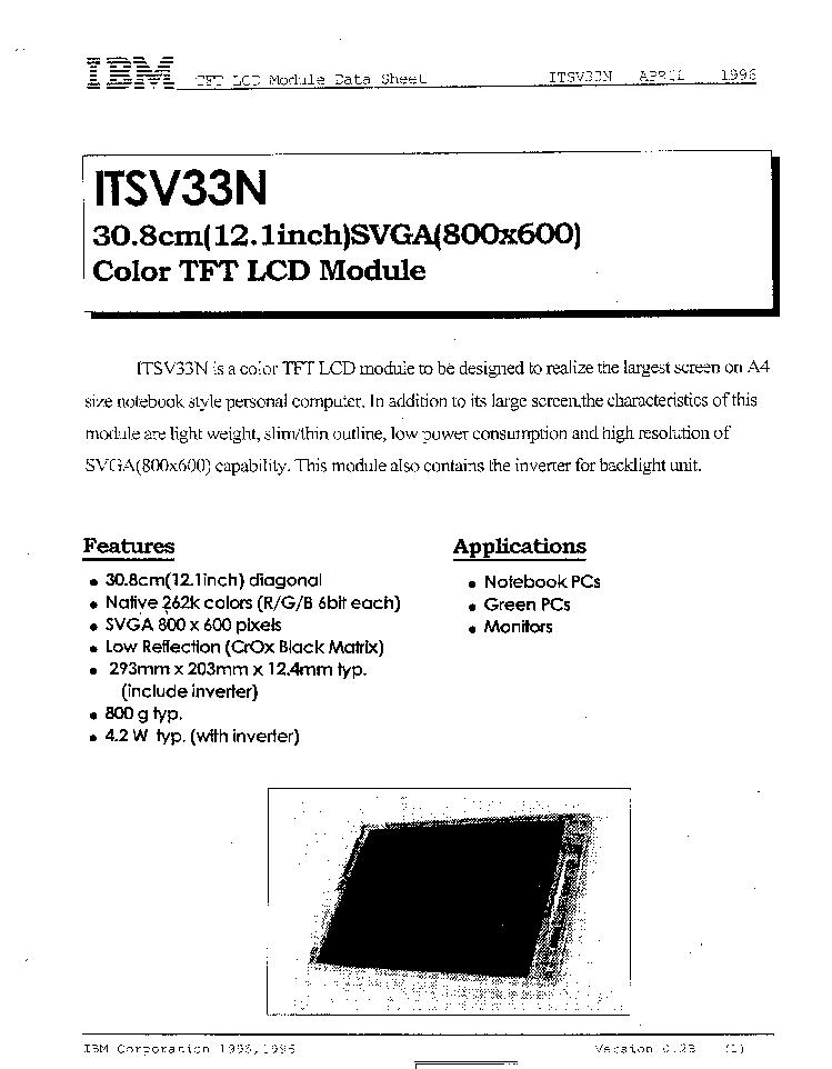 IDTECH ITSV33N LCDPANEL DATASHEET Service Manual download