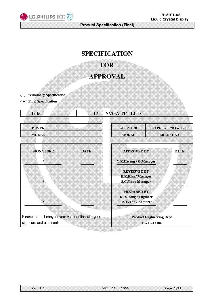 Lg Philips Lb121s1 A2 Lcdpanel Datasheet Service Manual