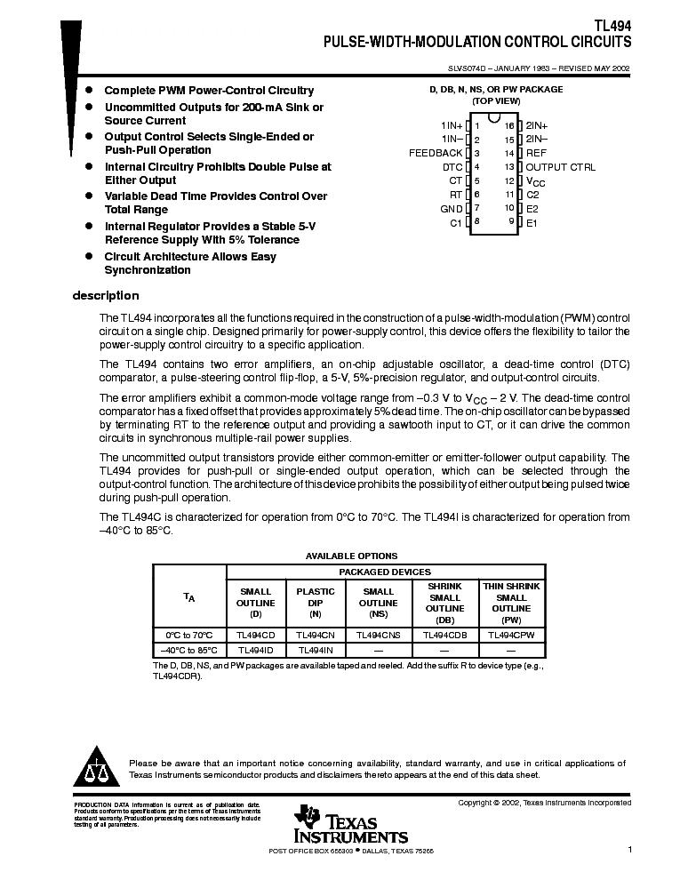 TL494 Service Manual download, schematics, eeprom, repair info for ...
