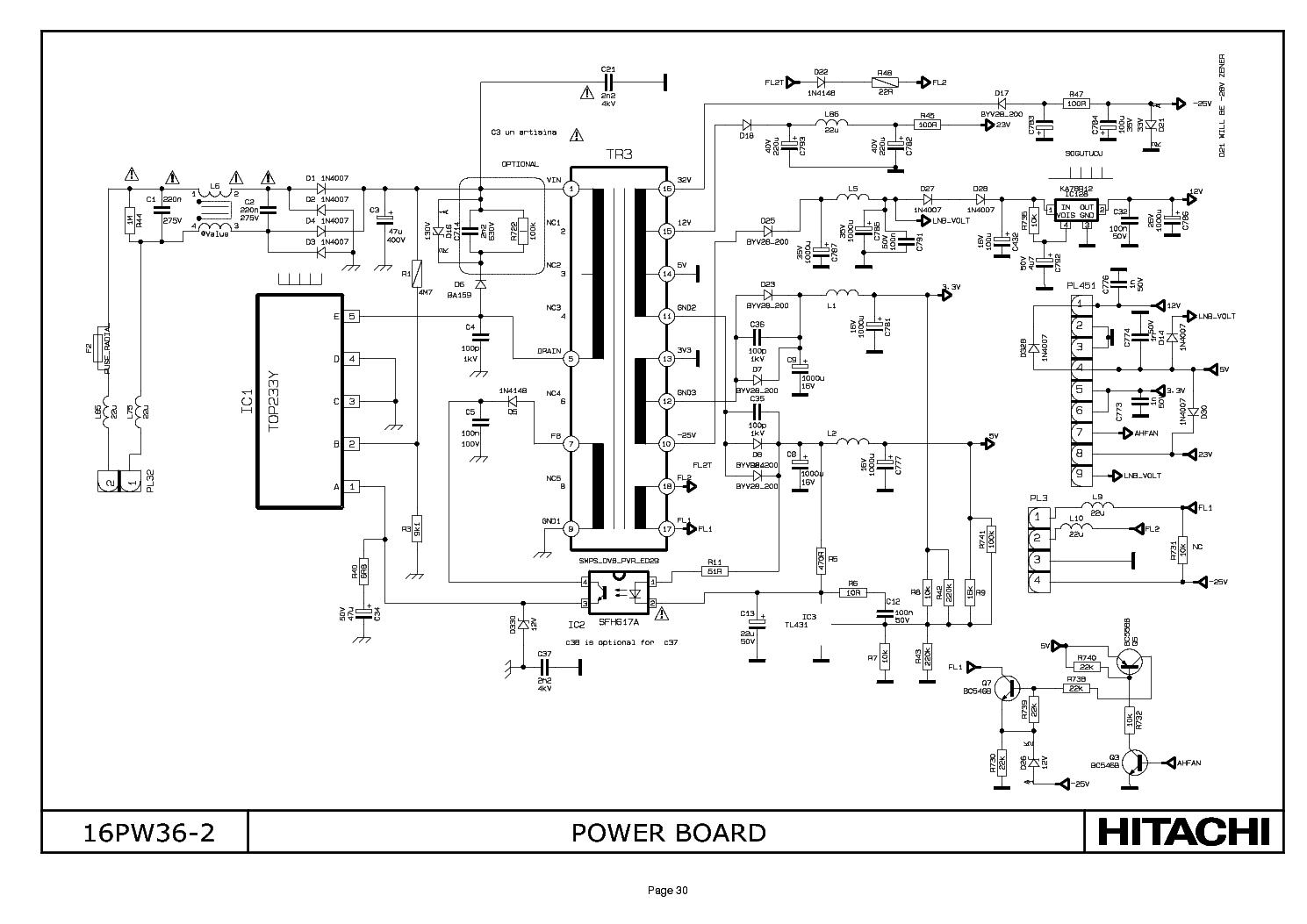 hitachi cl2864ta power