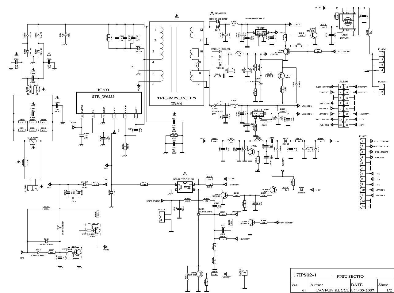 Vestel 17ips02 1 Sch Inverter Power Supply Service Manual 17pw15 8 Circuit Diagram 17ips11 R2 Schematics