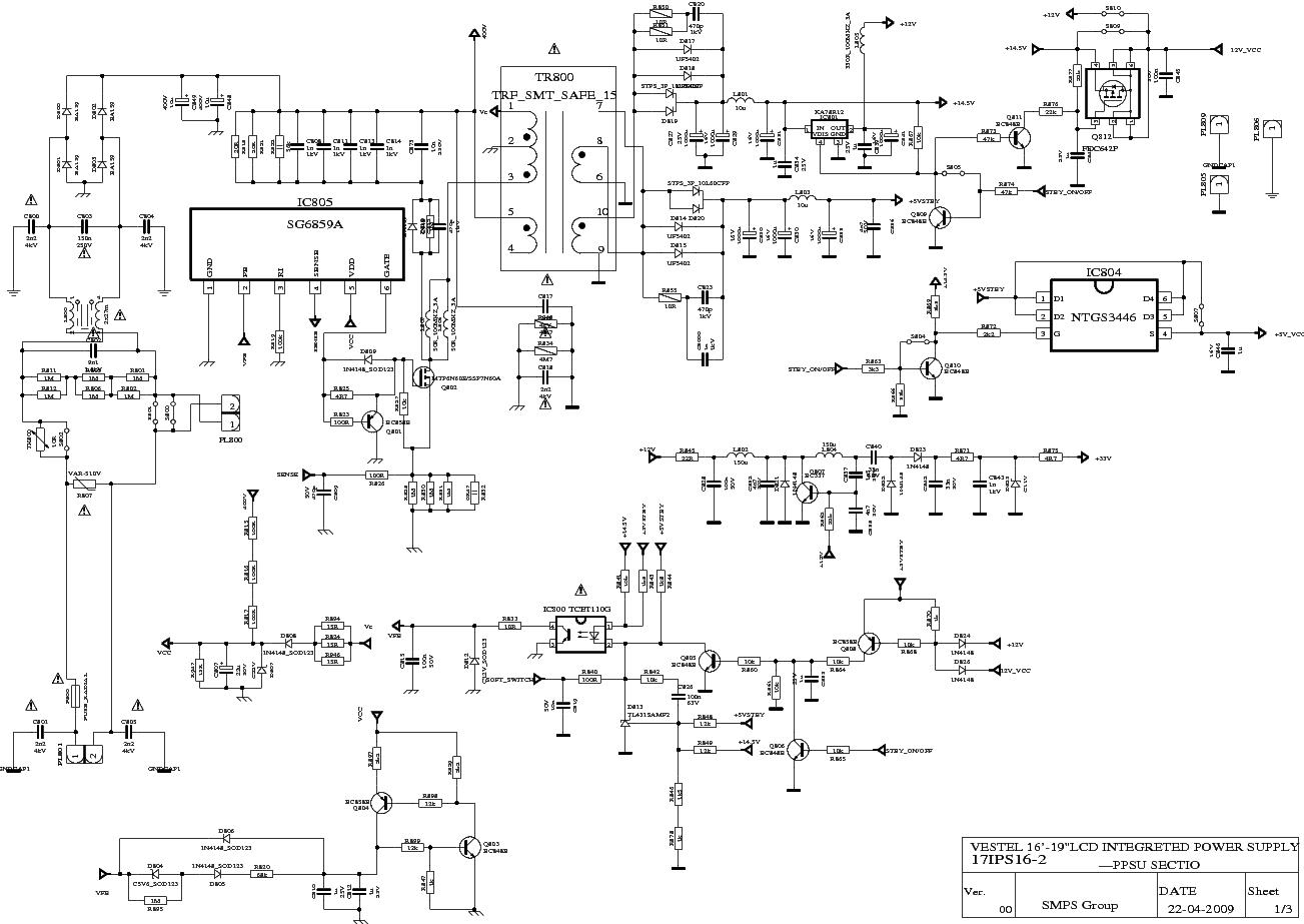 Vestel 17ips162 Power Supply Sch Service Manual Download  Schematics  Eeprom  Repair Info For