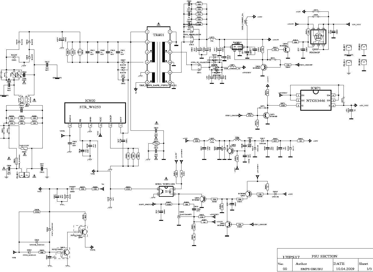 Vestel 17ips17 Power Supply Sch Service Manual Download  Schematics  Eeprom  Repair Info For