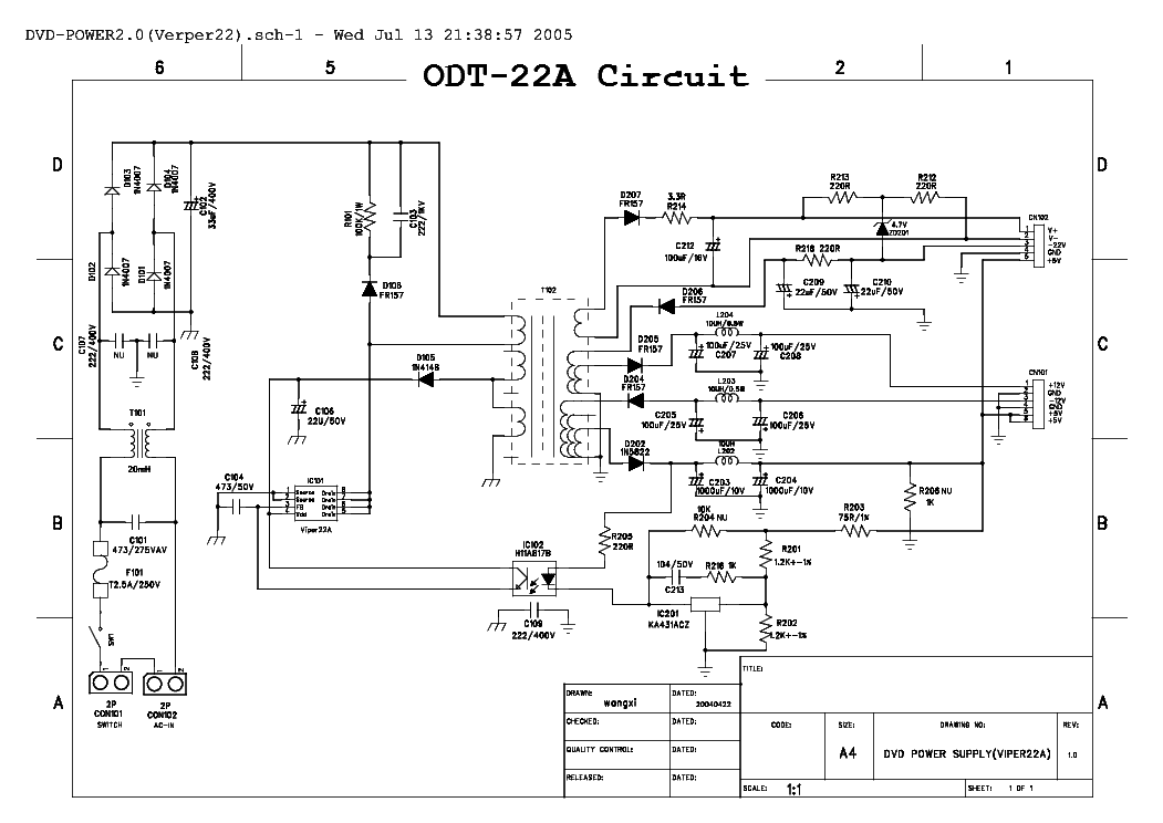Yamada Dvd Power Supply Viper 22a With Chip Sch Service Manual Download  Schematics  Eeprom