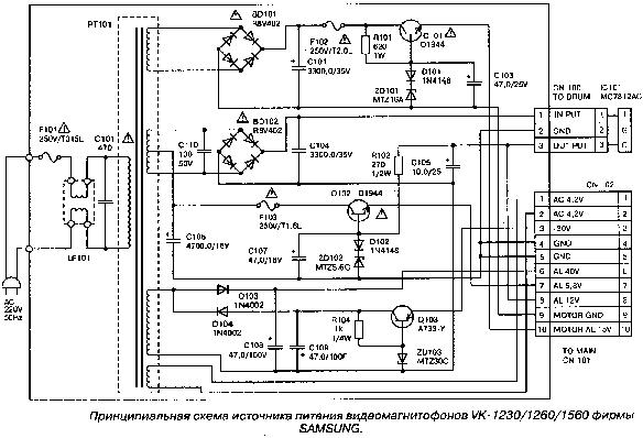 Схема видеомагнитофона Samsung VK-1560 (power supply) .