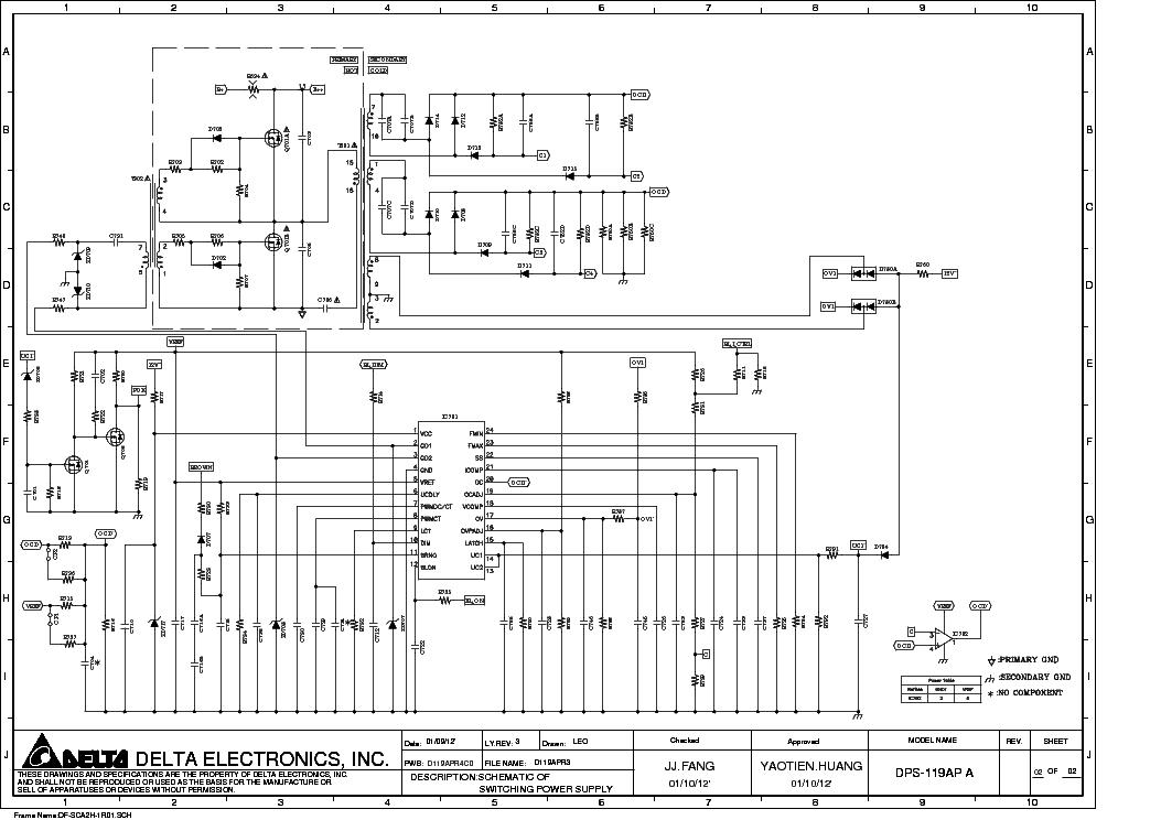 DELTA DPS 119AP Service Manual download, schematics, eeprom