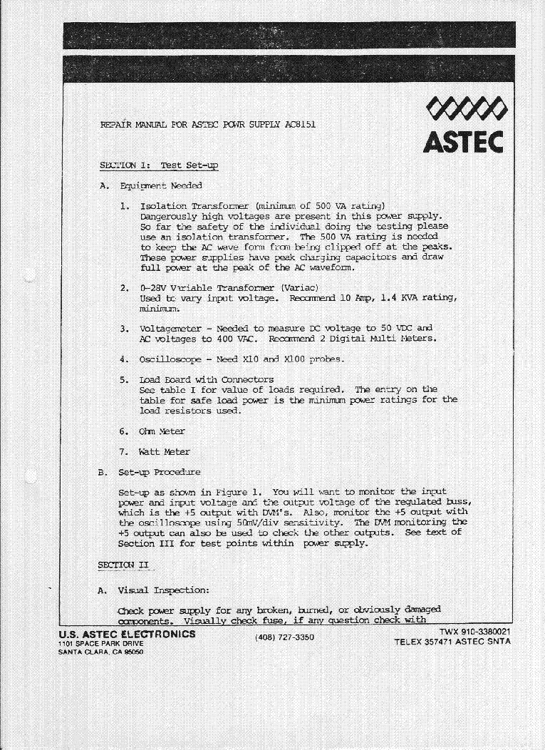 ASTEC AC8151 SM Service Manual download, schematics, eeprom, repair ...