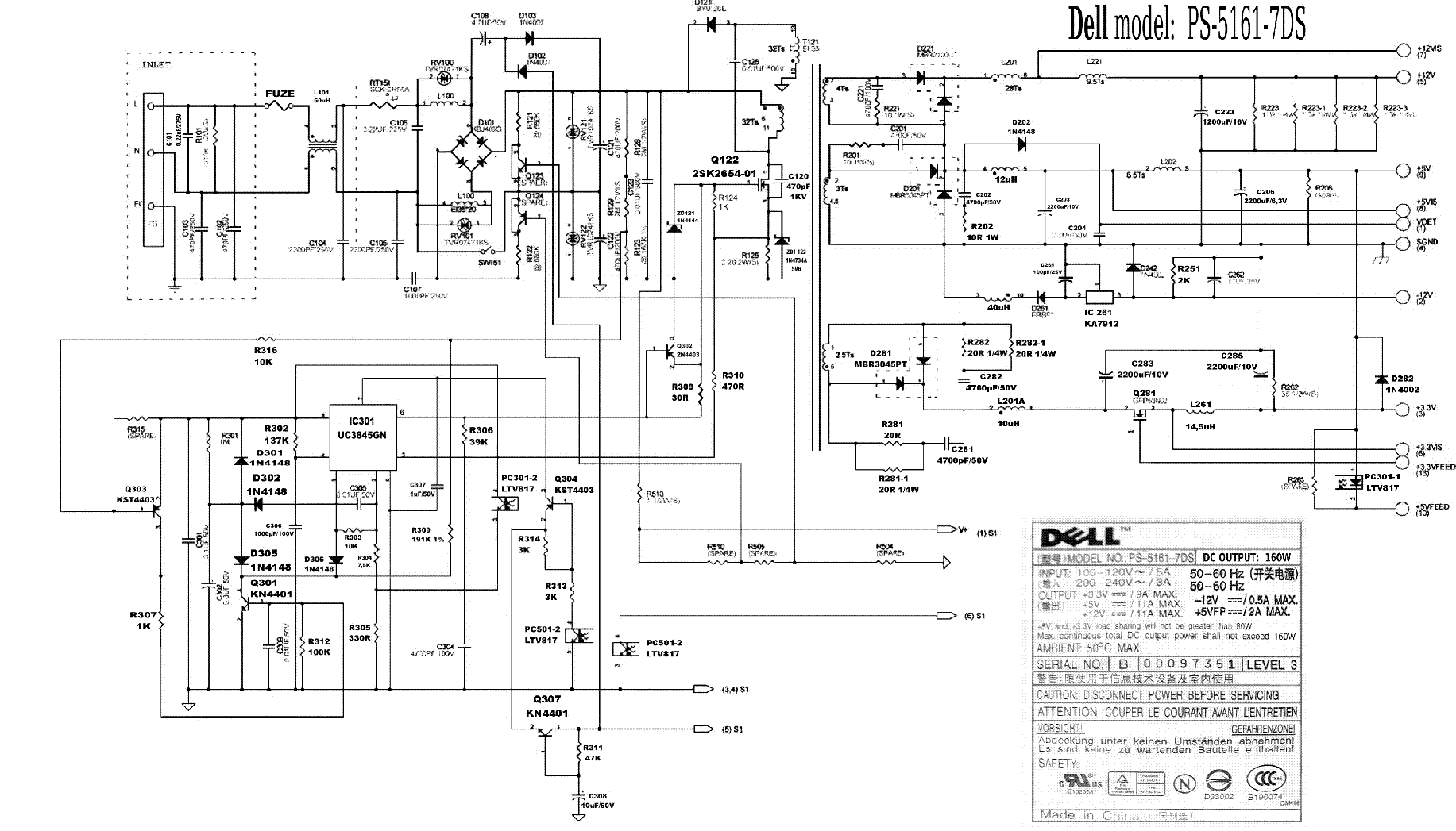 DELL PS-5161 7DS POWER SUPPLY SCHEMATIC service manual (1st page)