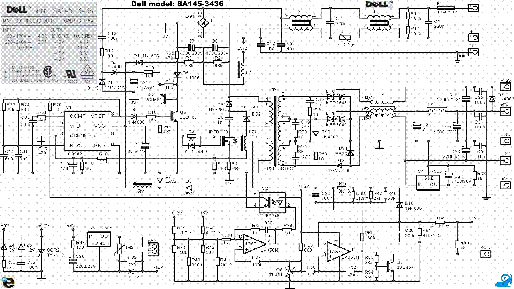 dell sa145 3436 power supply schematic service manual download rh elektrotanya com