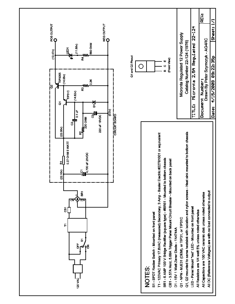 micronta radio shack 22 124 12v 2 5 a regulated power 12 Volt Power Supply Schematic Power Supply Circuit Diagram