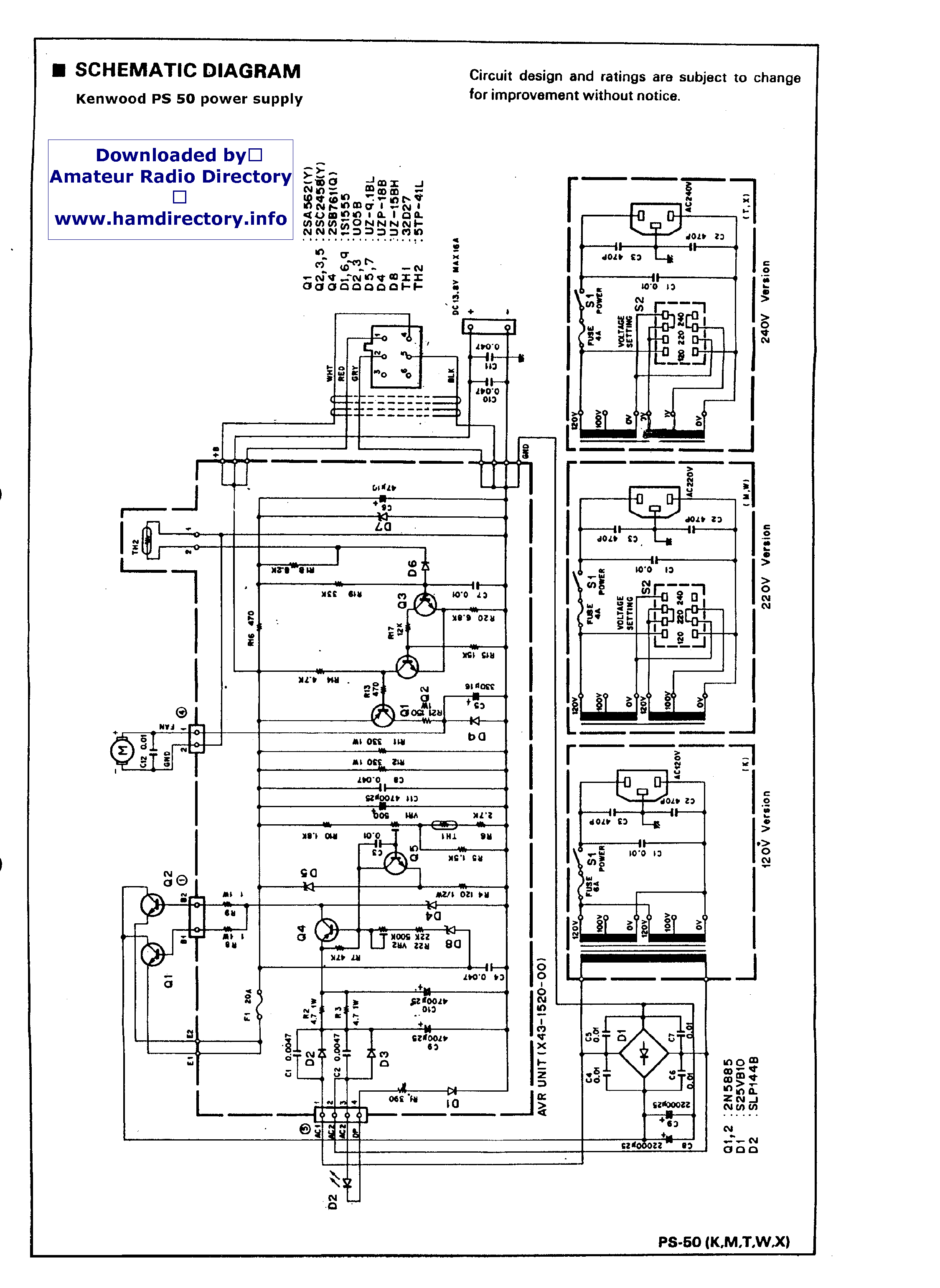 kenwood ps 50 power supply schematic