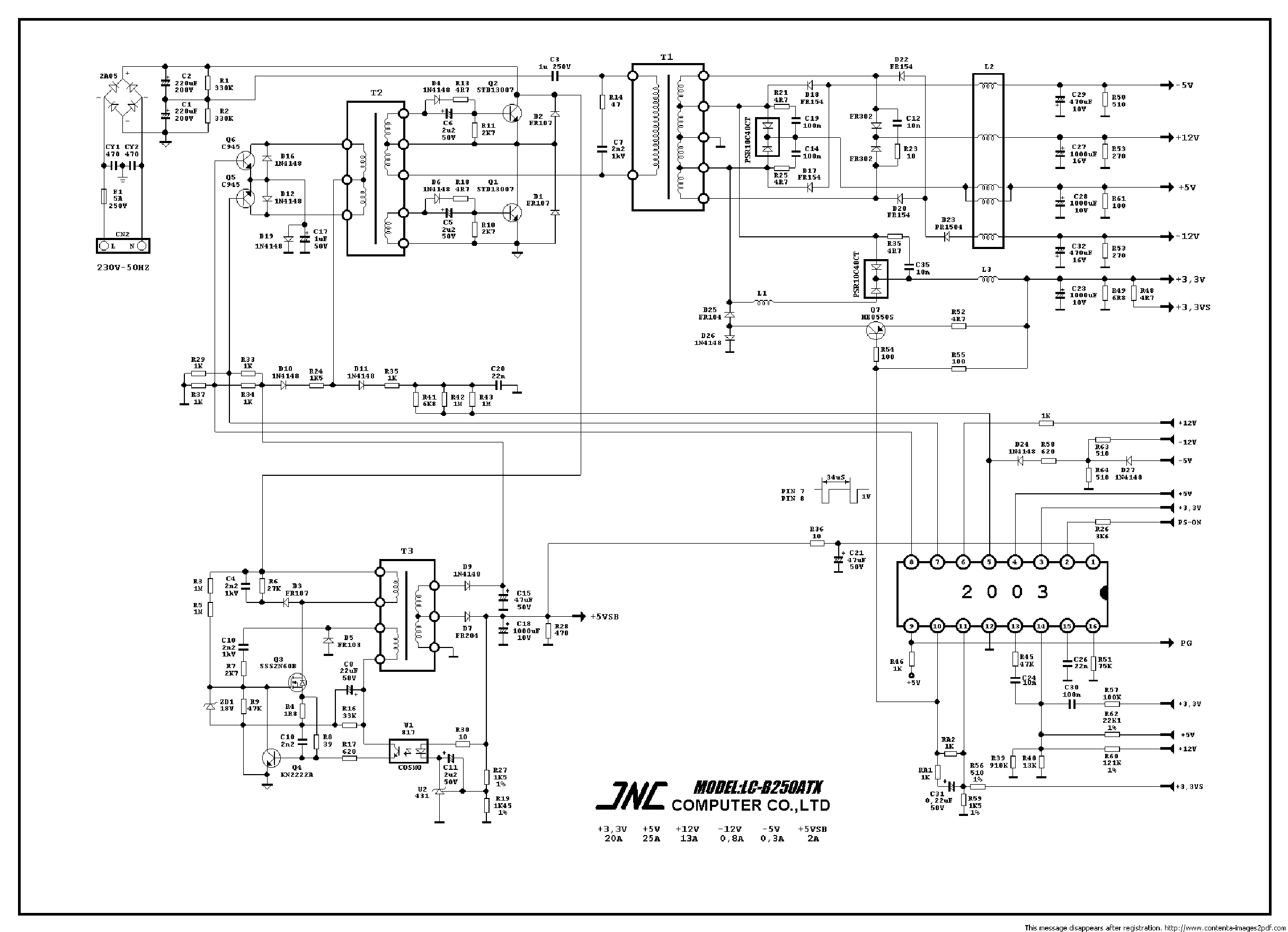 Wiring Diagram For Dell Power Supply Free Download Jnc Lc B250atx Pc Sch Service Manual Downloadjnc