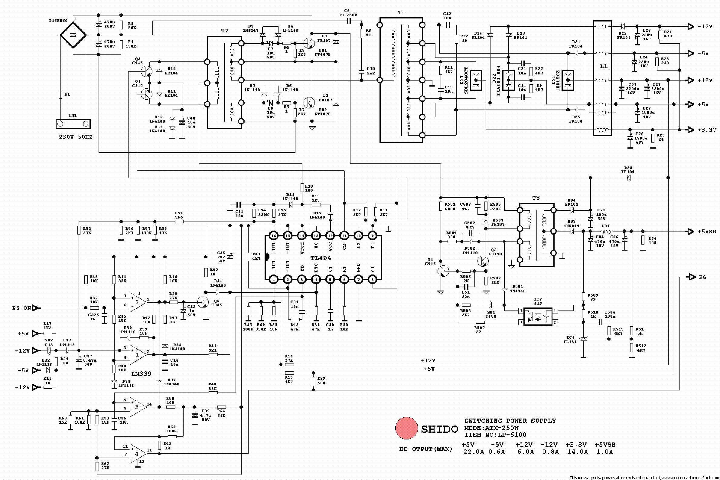 ATX Power Supply Schematic http://elektrotanya.com/shido_atx-250_pc_power_supply_sch.pdf/download.html