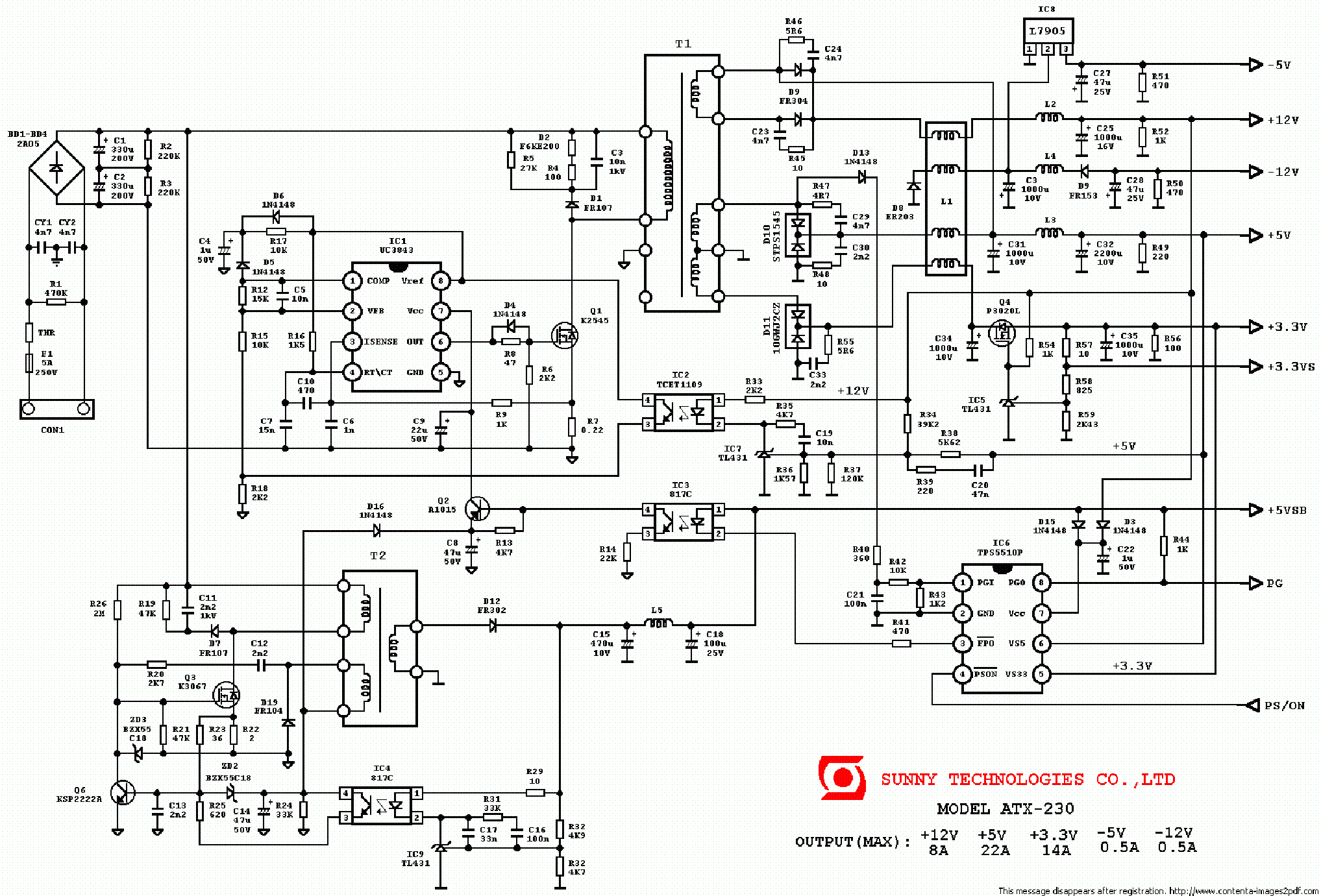 ATX Power Supply Schematic http://elektrotanya.com/sunny_atx-230_pc_power_supply_sch.pdf/download.html