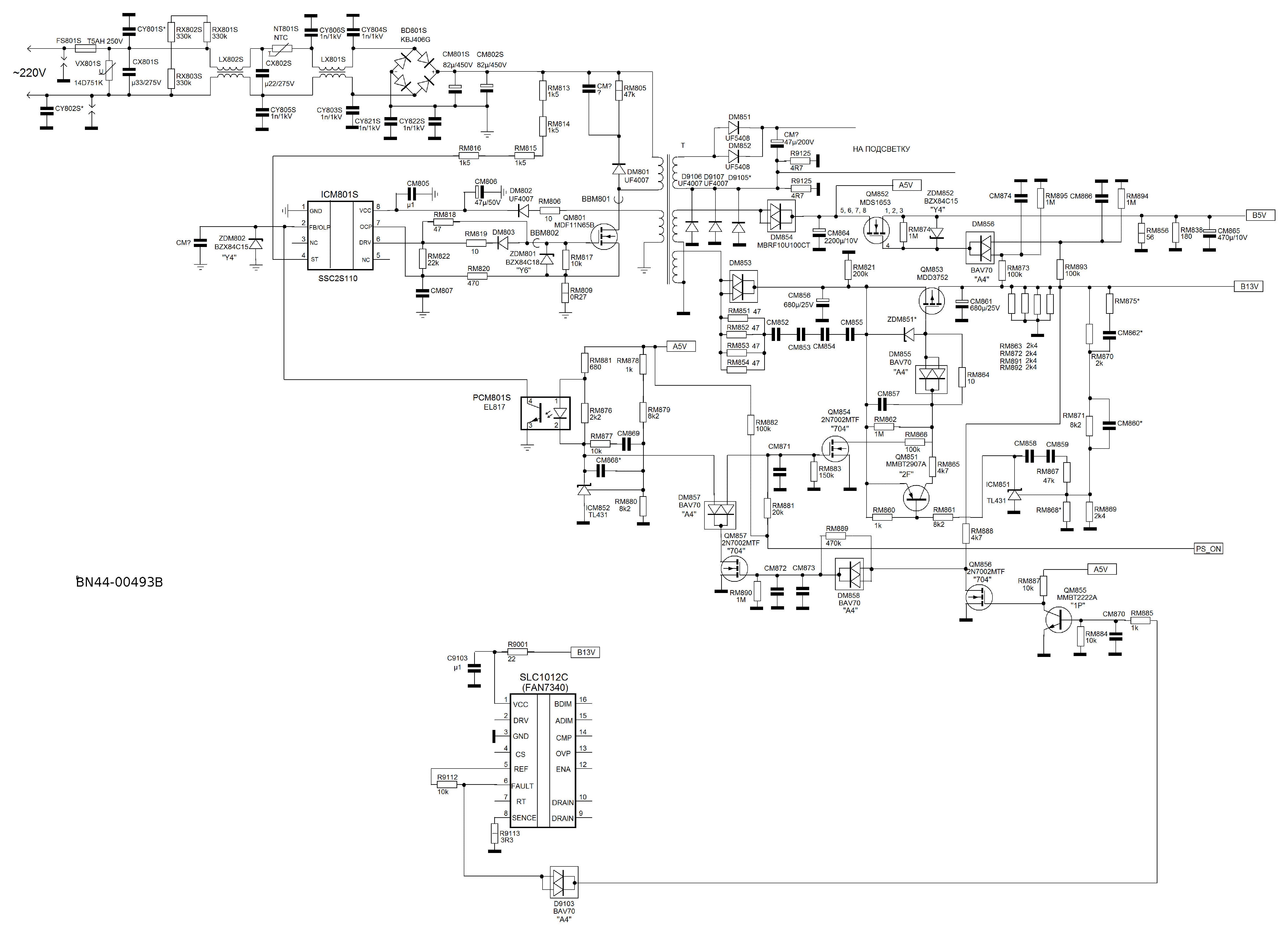Samsung bn44-00493b psu sch service manual download, schematics.