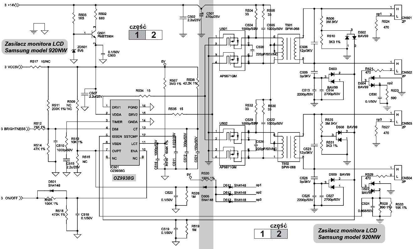 SAMSUNG BN81-00544A 920NW MONITOR POWER-INVERTER SCH Service Manual