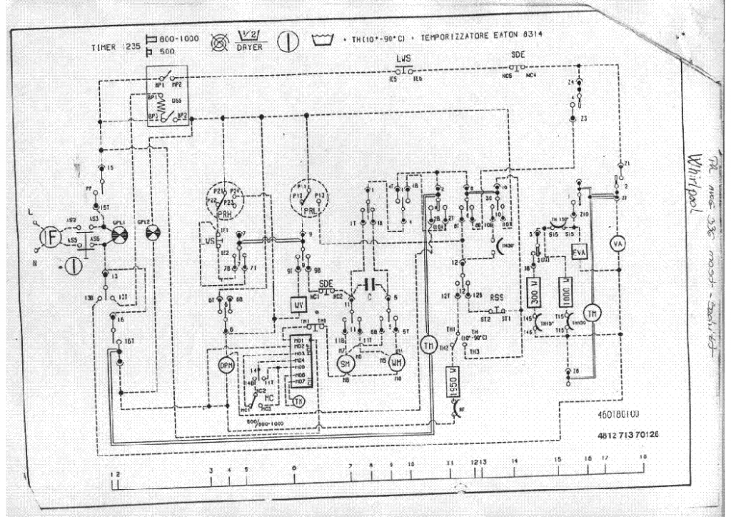 Whirlpool mosógép programkapcsoló rajz