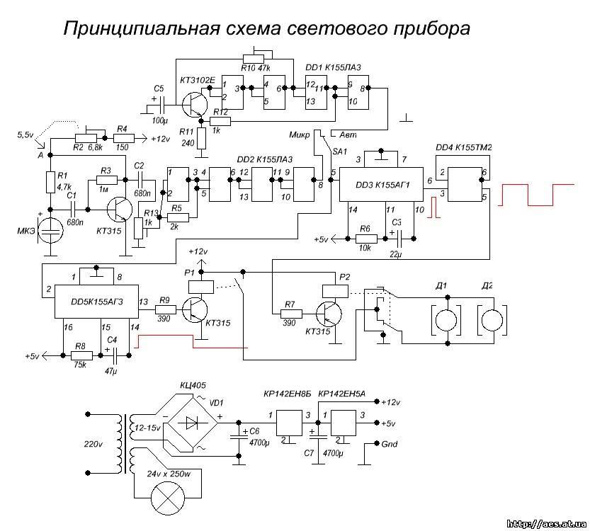 Схема собрана на мс логики 155 серии (аналоги - К555, К153, К1533).  Сигнал с микрофона усиливается микрофонным...